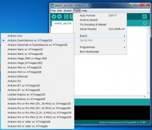 Arduino IDEでのBoard設定。